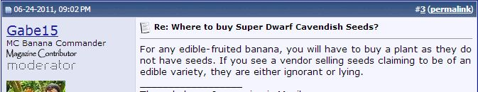 Edible Bananas Cannot Be Grown From Seed