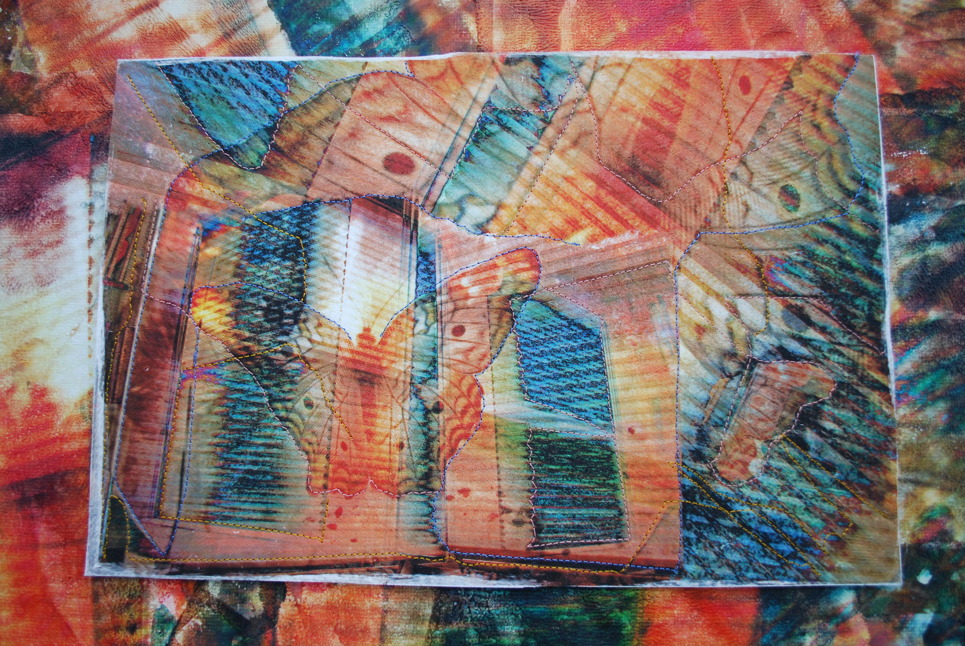 Butterfly window collage on lutradur