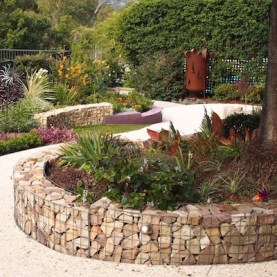 The back garden with gabion walls