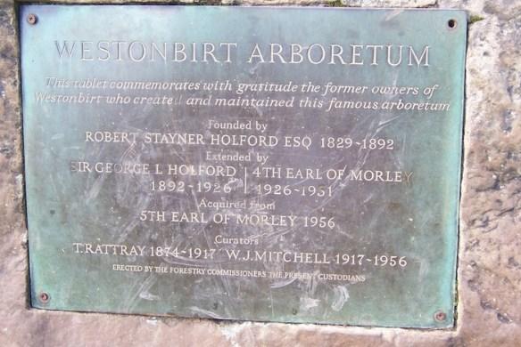 Westonbirt Arboretum Plaque