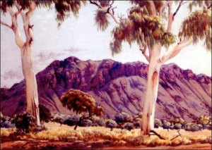 Ghost gums in a Namatjira landscape painting