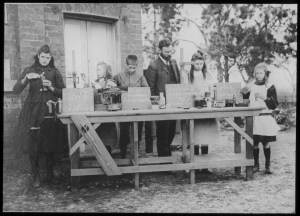 Glass Lantern Slide Children outside doing a Science Experiment Burnley Collection