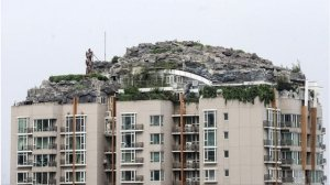 Illegal roof-top 'rockery'