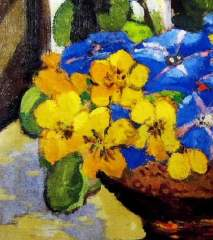 Detail from 'Still life Nasturtiums and Convolvulus' Margaret Preston 1921