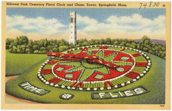 Postcard circa 1930 - 1945: Hillcrest Park Cemetery Floral and Chime Tower in Springfield, Massachusetts. Photo source: Boston Public Library