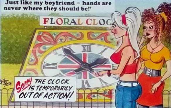1970s English comic postcard with a floral clock theme. Art work by Brian Perry for Bamforth & Co