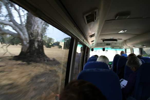 Driving through the Victorian countryside on Sunday's Euroa bus tour