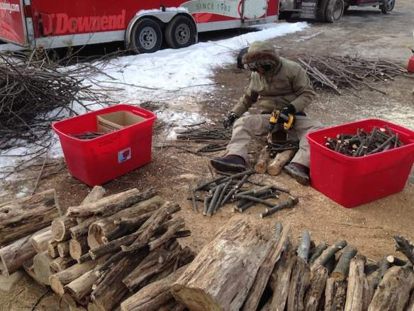 Oh yes it's cold! Working on the floating stick sculpture for 'A Maleficent View' outside in freezing temperatures. Philadelphia Flower Show 2015