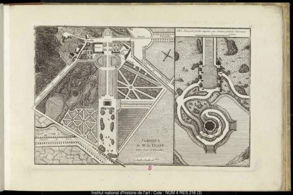 The classical gardens at Chaville, near Versailles, showing (top left quadrant) how its new owner Mme de Tessé was introducing the distinctive anglo-chinois style among the old geometric allées and vistas. From volume 3 of Jardins anglo-chinois à la mode