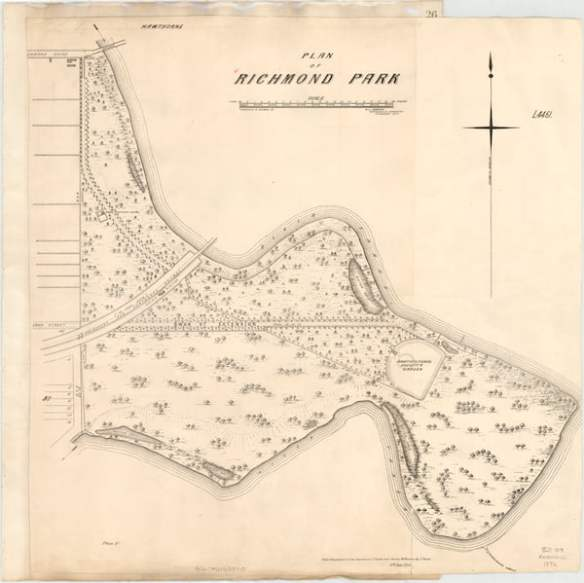 Plan of Richmond Park c 1872 (courtesy Burnley Archives)