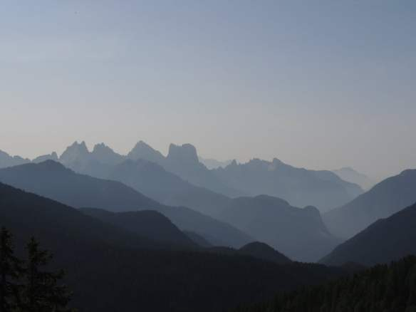 Beautiful early morning hazy landscape in the Dolomites