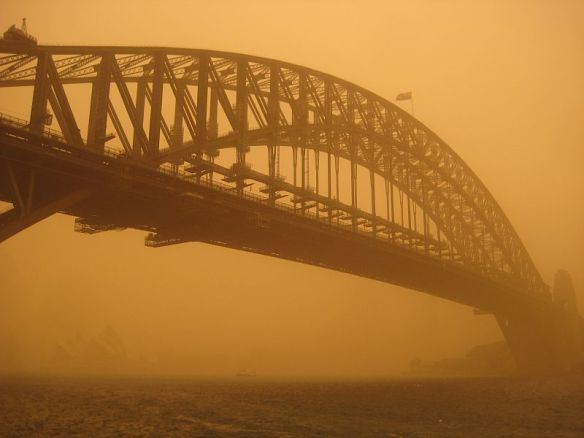 Sydney Harbour Bridge in the 2009 duststorm Photo Mrcricket48