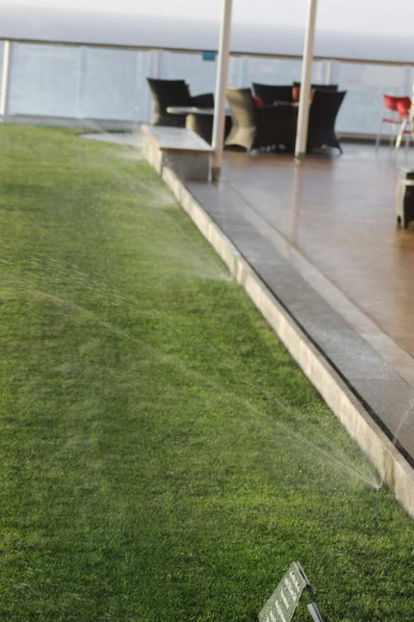Lawn deck watering on the Celebrity Solstice. Photo Mark Green V.I.P Lawn Services Mt Eden