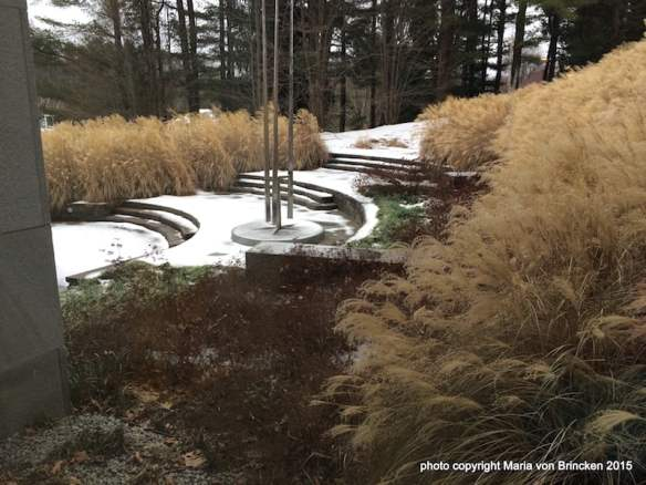 A view from inside the Decordova Museum of the winter landscape