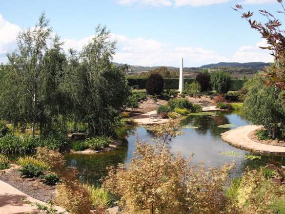 2016 - views across the Mayfield Water Gardens to the obelisk