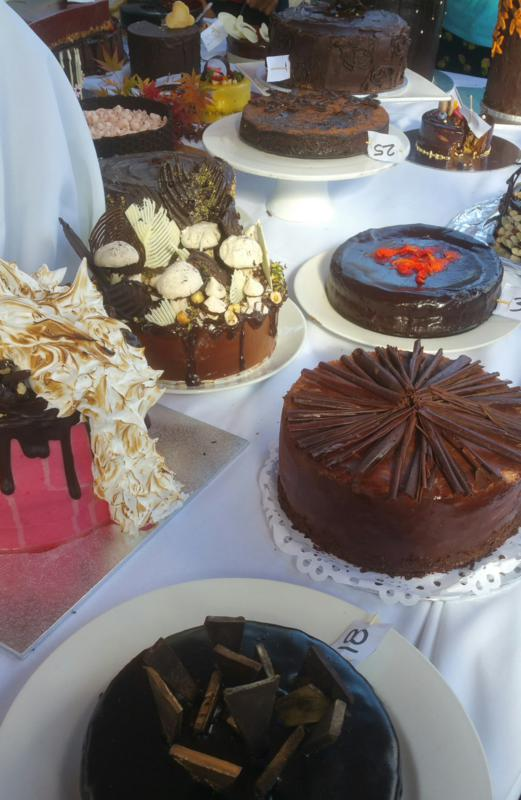 Chocolate Cake Competition - a tempting selection before judging