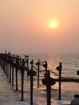 A pier in need of repair at Alleppey Beach, Kerala.