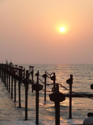 A pier in need of repair at Alleppey Beach, Kerala.