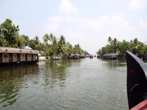 Rice boats for tourists clog the waterways. Kerala backwaters.