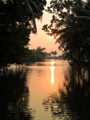 The grand finale. Sunset on the backwaters of Kerala.