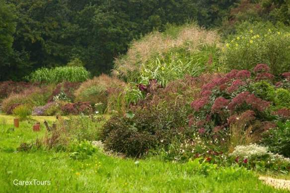 Piet Oudolf designed this border for Ernst Pagels' garden in Leer, Germany. In the far left background is the mother plant of all modern Miscanthus.