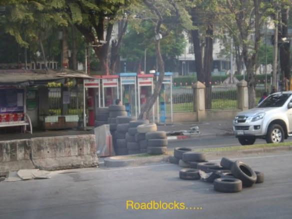 Rioter roadblocks in Bangkok