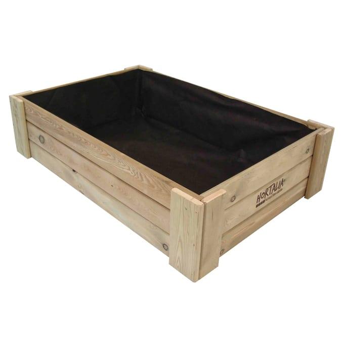 Mesa de cultivo madera caj n 120 x 80 230l gardeneas for Mesa jardin 120 x 70