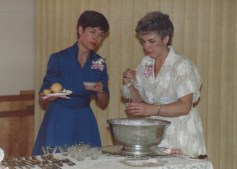 circa 1980's United Methodist Church reception, Jan Pinniger and Elaine Shreve at the punch bowl