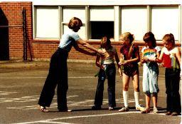 GHS 1982 Last Day - field day - te in long pants, girls