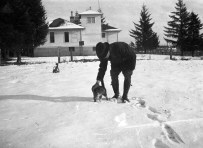 Melvin Replogle and cat 1920s near Garden Home School