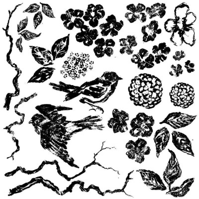 IOD Birds Branches and Blossoms Stamp