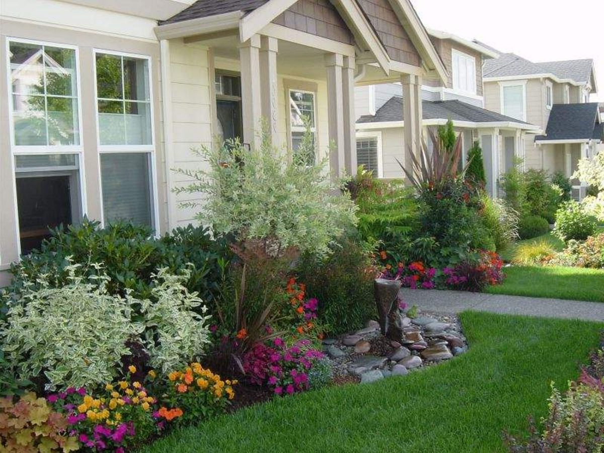 Fantastic  flower beds in front of house