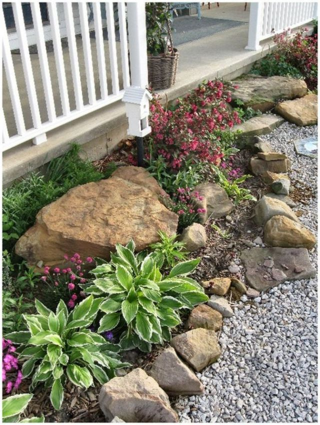 Beautiful flower bed ideas with rocks