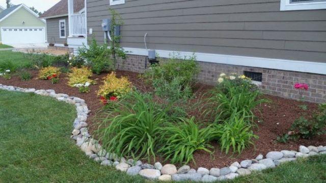 Wonderful flower bed ideas with rocks