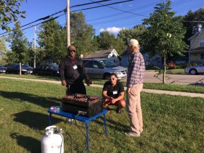 randy, rodrigo, and caleb figuring out the grill