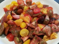 A colourful variety of rustically chopped tomato