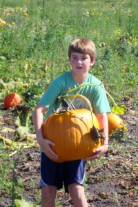 When pumpkins were still bigger than he was