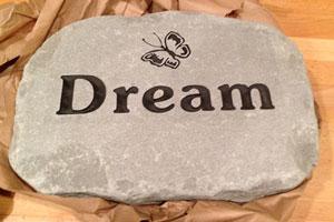 Engraving on Adirondack Stone Works garden stone