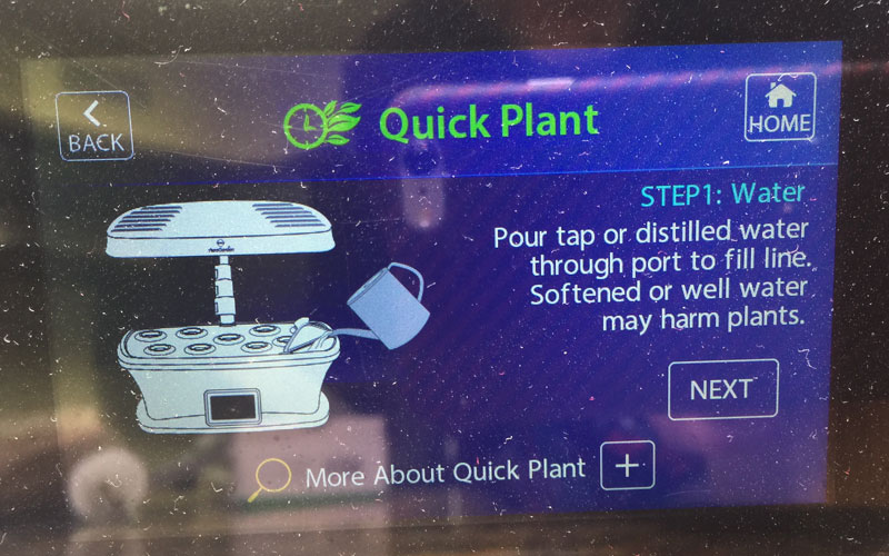 AeroGarden LED screen directions