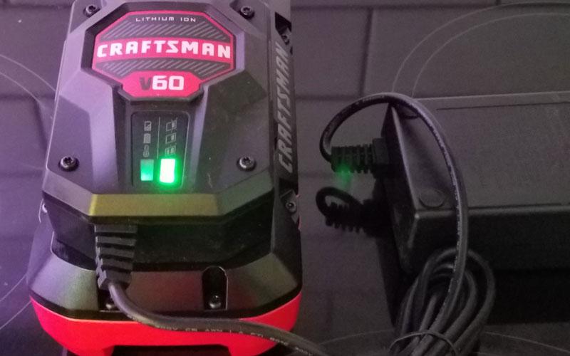 Craftsman 60V Hedge Trimmer battery charger green light