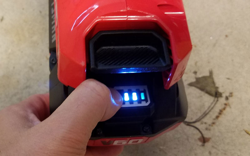 Craftsman 60V String Trimmer battery life remaining