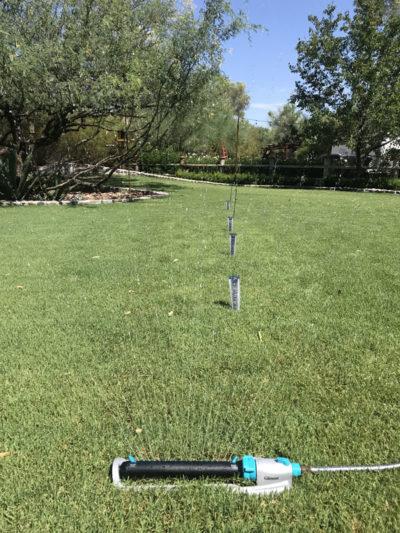 Gilmour rectangular sprinkler with rain gauges
