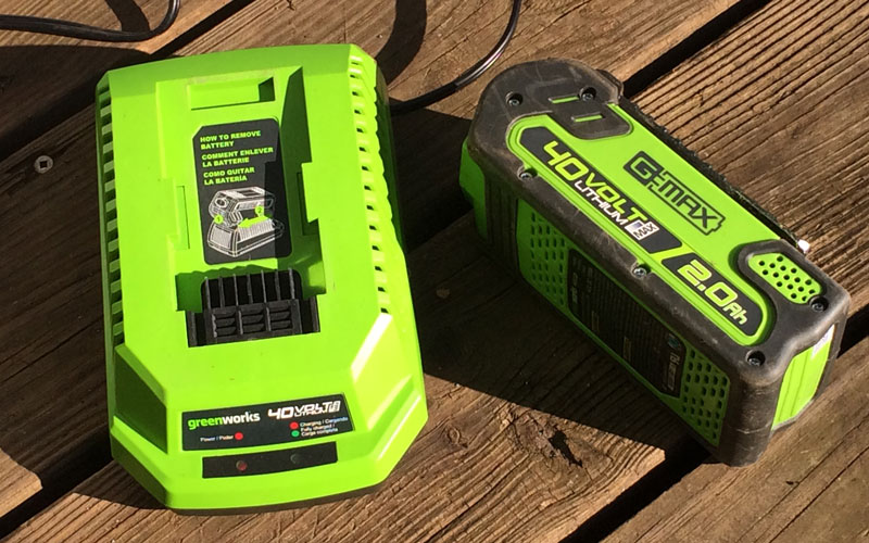 Greenworks Hedge Trimmer battery charger and separate battery