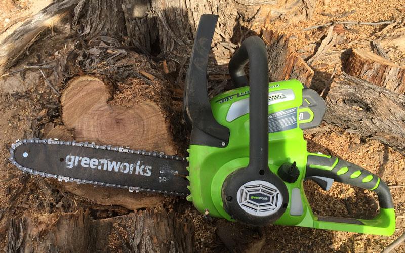 Greenworks Chainsaw cut through large log