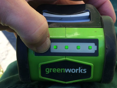 Greenworks 40V G-Max Cordless Hedge Trimmer battery buttons
