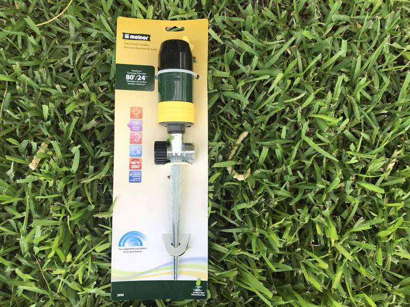 Melnor turbo rotary sprinkler in packaging