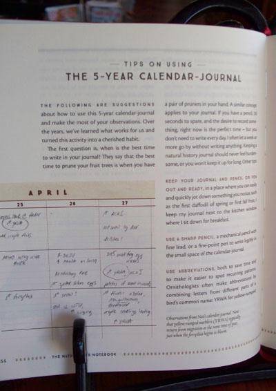Naturalist's Notebook Using the calendar