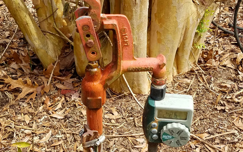 Snip-n-Drip Soaker attaching garden hose to timer