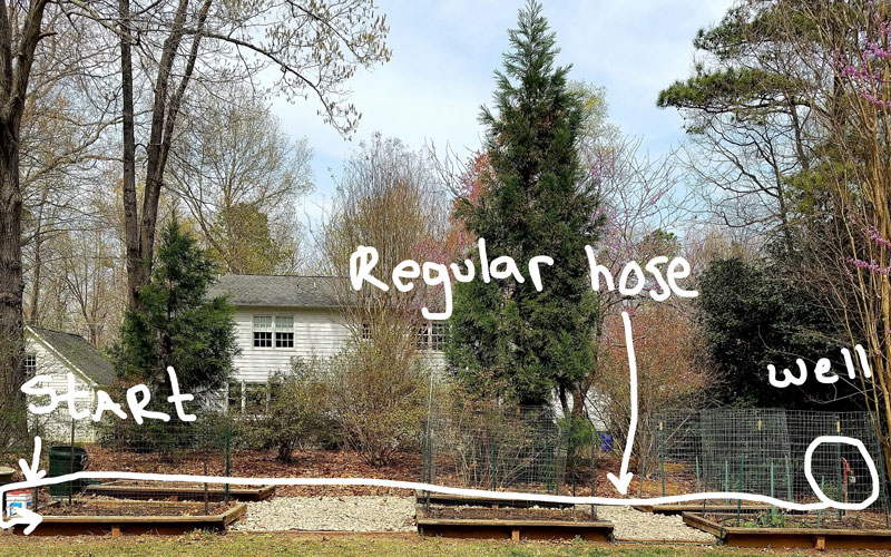 Snip-n-Drip soaker using garden hose