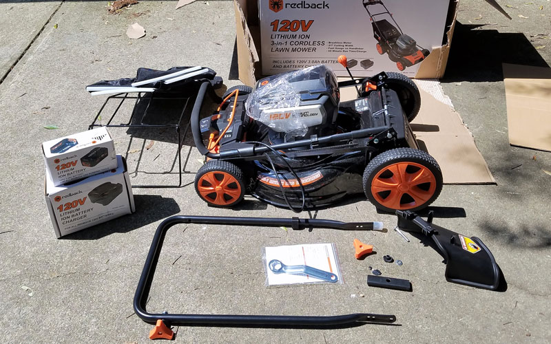 "redback 120v lithium ion 21"" cordless push lawn mower review redback 120v pieces"